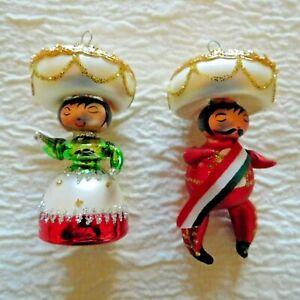 VINTAGE PAIR of  MOUTH BLOWN FIGURAL CHRISTMAS ORNAMENTS MEXICAN SENOR & SENORA