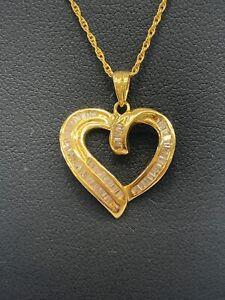 18ct 18k Yellow Gold Open Heart Diamond Pendant TDW 0.90ct. Brand New