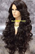 "40"" Long Wavy Bangs Layered Brown Full Lace Front Wig Heat Ok Hair Piece #4 NWT"