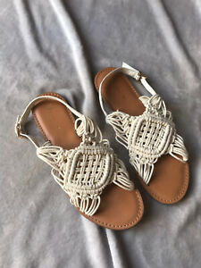 Very White Sandals Size 7