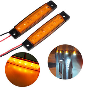 2x Truck Trailer 6 LED Side Marker Lights Indicator Bar Amber Lamp Universal
