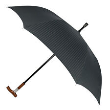 Leighton Distinctive BLK With White Pin-Stripes Gentleman's Hidden Cane Umbrella