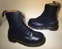 Vgc! Sz5 Vtg 90's England Dr. Martens Air Cushioned Steel Toe Blue Leather Boots