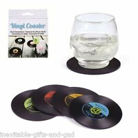 Record Retro Coasters Set of 4 Vintage Drink Coasters Novelty Funky Cool