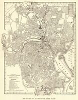 1920 Antique PROVIDENCE Street Map City Map of Providence Rhode Island 7807