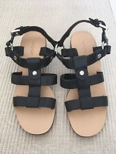 Topshop Black Leather Strappy Almost Gladiator Style Sandal Shoe Size 4.5 (37)
