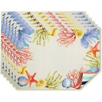 Better Homes Sealife Placemat SET of 6 NEW Sea Shells Beach Stripe Rev Placemats