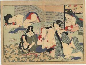 UW»Estampe japonaise érotique Hokusai  shunga ca. 1900 - C373 D46
