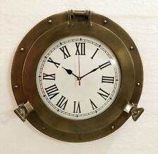 "10"" Antique Brass Ship Porthole Clock Vintage Style Ship Window Wall Clock"