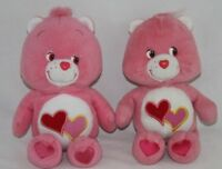 "Care Bear Love-A-Lot Bear Pink Heart Stuffed Animal Plush Toy 8"" Lot 2"