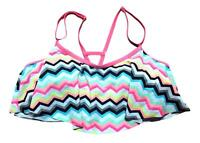 So Size XS S M L XL Pink White Black Ruffle ZigZag Print Strappy Bikini Swim Top