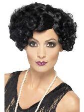 Flapper Wig Black Curly Mafia Great Gatsby Short Ladies Fancy Dress