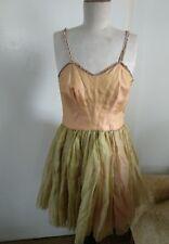 "50's Festival Costume Handmade Pure Silk Georgette Diamonty Vintage Dress W 28"""