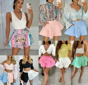 Women's Ladies High Waisted Peplum Flared Short Summer Party Tailored Mini Skirt