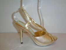 Jessica Bennett Size 9 M MYLA Gold Leather Heels Sandals New Womens Shoes
