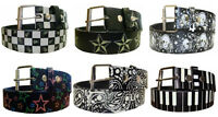 Glow In The Dark Printed Leather Belt w/ Removable Buckle - Stars Skulls Paisley