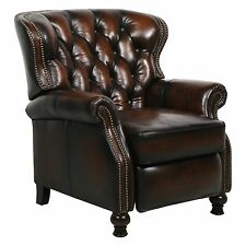 Barcalounger Presidential II Leather Power Recliner Nailheads - Stetson Coffee