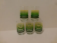 Vintage (5) Juice Glasses Gradated Stripe, Yellow to Dark Green    (S4