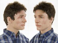 Youthful Short Spikey Grey Brunette Straight Men's Wig