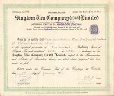 Singtom Tea Company > 1947 Calcutta India stock certificate rupees Major Bahadur
