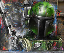 street art  boba fett star wars movie pop painting by andy baker canvas signed