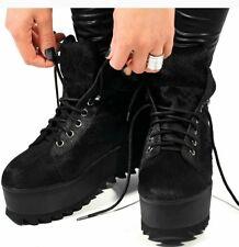 Jeffrey Campbell Plataforma Tenis Zapatos De Piel Zapatillas Goth Negro Tamaño 41/7