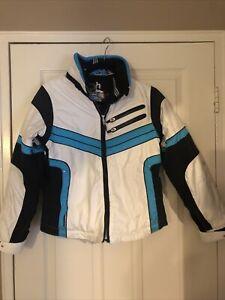 Obermeyer Teen Girls Black/Blue Snow Jacket size 14 Winter Ski Snowboard