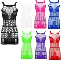 Womens Mesh See-through Mini Dress Hollow Out Clubwear Evening Cocktail Bodycon