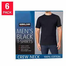 Kirkland Men's 6-pack Black 100% Cotton Crew Neck T-shirt FREE SHIPPING!