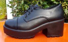 Koi Calzado Grueso Zapatos De Plataforma Negro UK 6 EU 39 Nuevo