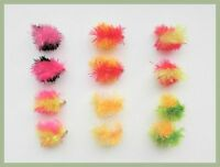 Blob Flies, 12 Pack Two Tone Colours, Size 10 , Fishing Flies, Trout Flies