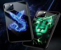 Lion Phoenix Luminous Glass Case Luxury Phone Back Cover For iphone