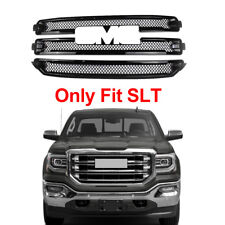 Only For 2016-2018 GMC Sierra 1500 SLT Front Grille Covers Overlay Gloss Black