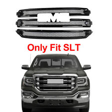 For 2016 2017 2018 GMC Sierra 1500 SLT Front Grille Covers Overlay Gloss Black