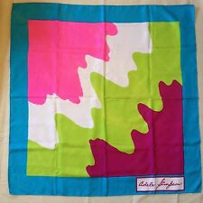 """100% SILK Vintage Adele SIMPSON hand rolled SCARF NEON Multi-Color Graphic 33""""sq"""