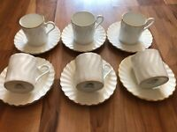 Set Of 6 Aynsley Whisper Gold Coffee Cups & Saucers