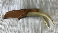Brusletto Geilo Made In Norway Fixed Blade Carved Antler Handle Knife and Sheath