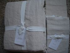 POTTERY BARN Belgian Flax Linen KING Duvet & 2 KING Shams NEW - Natural