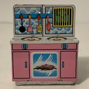 Vintage 1950s Tin Litho Dollhouse Kitchen Stove Oven Range Japan Furniture Pink
