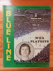 1975-76 BLUE LINE NEW ENGLAND WHALERS vs INDIANAPOLIS RACERS Program RICK LEY
