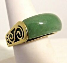 Carved Green Jade Saddle Ring in Solid 14k Yellow Gold  Size 8