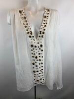 T Bags Los Angeles Womens Sz 1X White Jeweled V-Neck Blouse Sleeveless