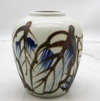 Vintage MCM Studio Pottery Handpainted Brown Blue Feather design pottery vase