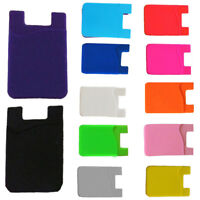 Candy Silicone Adhesive Sticker Back Cover Card Holder Case Pouch For Cell Phone