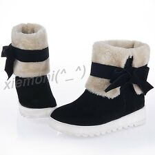 Women Pull On Bowknow Ankle Boot Fleece Wedge Snow Boots Winter Warm Shoes Sz 11
