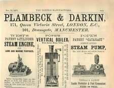 1877 Plambeck Darkin Engine Boiler Pump Deans Gate Ad