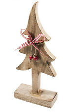Carved Wooden Standing Tree Burnt Finish 32cm Shabby Chic Rustic Gift Decoration