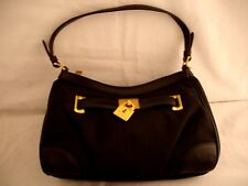 RALPH LAUREN SIGNATURE 11.5 x 4.5 Base Black Leather & Fabric Purse NWT $158