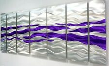 Metal Wall Art Panels HYPER MODERN Silver Purple Painting  ORIGINAL Jon Allen