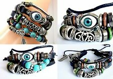 Leather bracelet Turquoise Evil eye beads adjustable unisex layered bracelet
